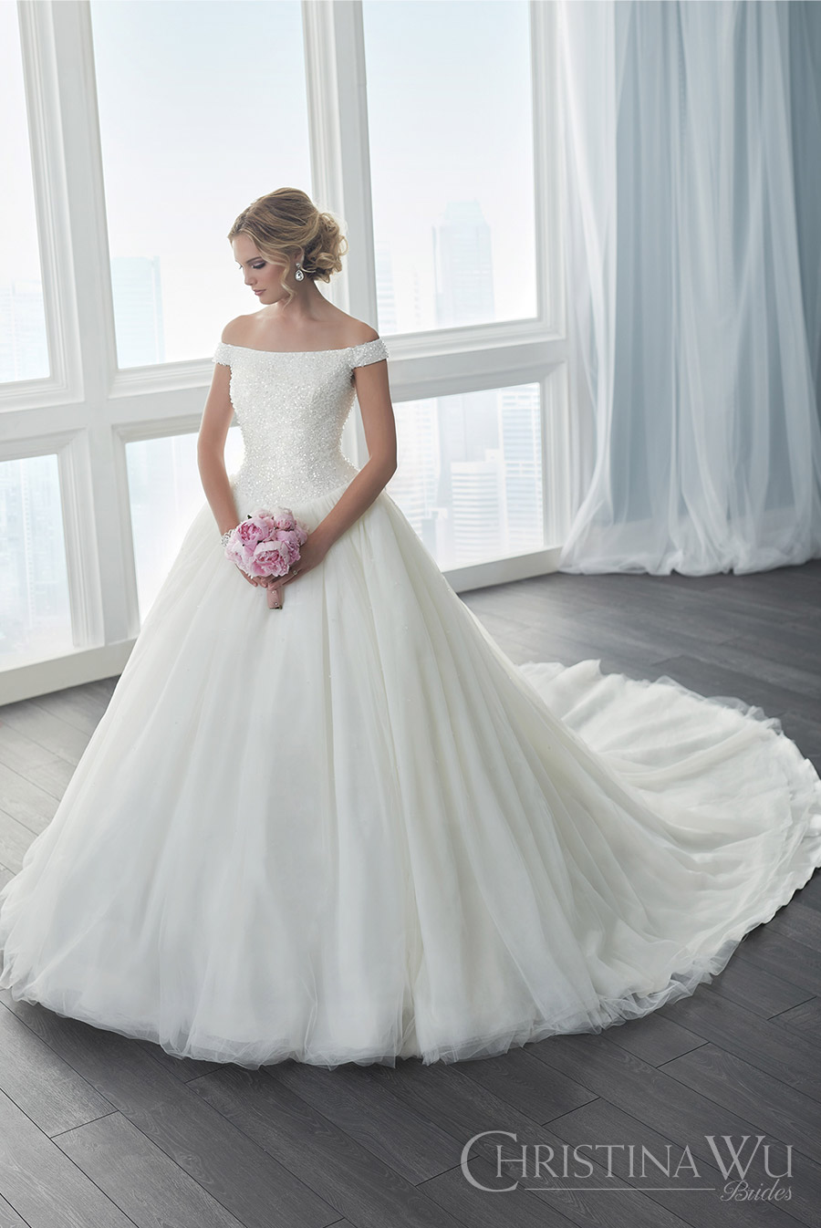 christina wu brides spring 2017 bridal off shoulder heavily beaded bodice ball gown wedding dress (15633) mv romantic princess long train