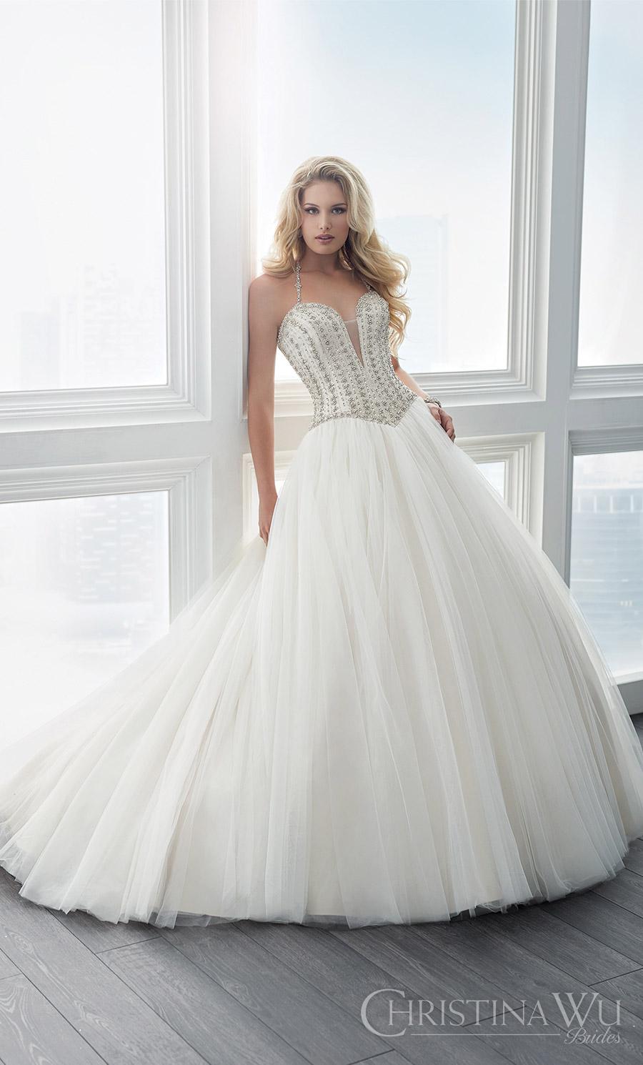 christina wu brides spring 2017 bridal sleeveless beaded straps deep sweetheart embellished bodice ball gown wedding dress (15616) mv romantic princess