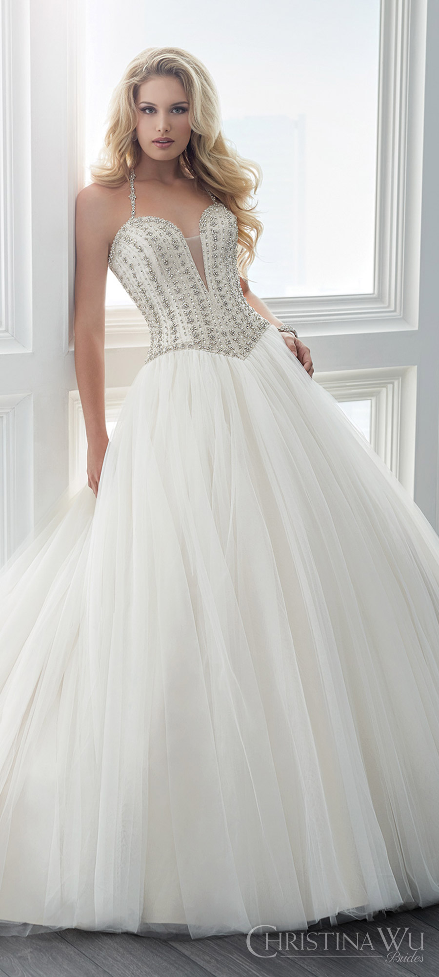 christina wu brides spring 2017 bridal sleeveless beaded straps deep sweetheart embellished bodice ball gown wedding dress (15616) zfv romantic princess