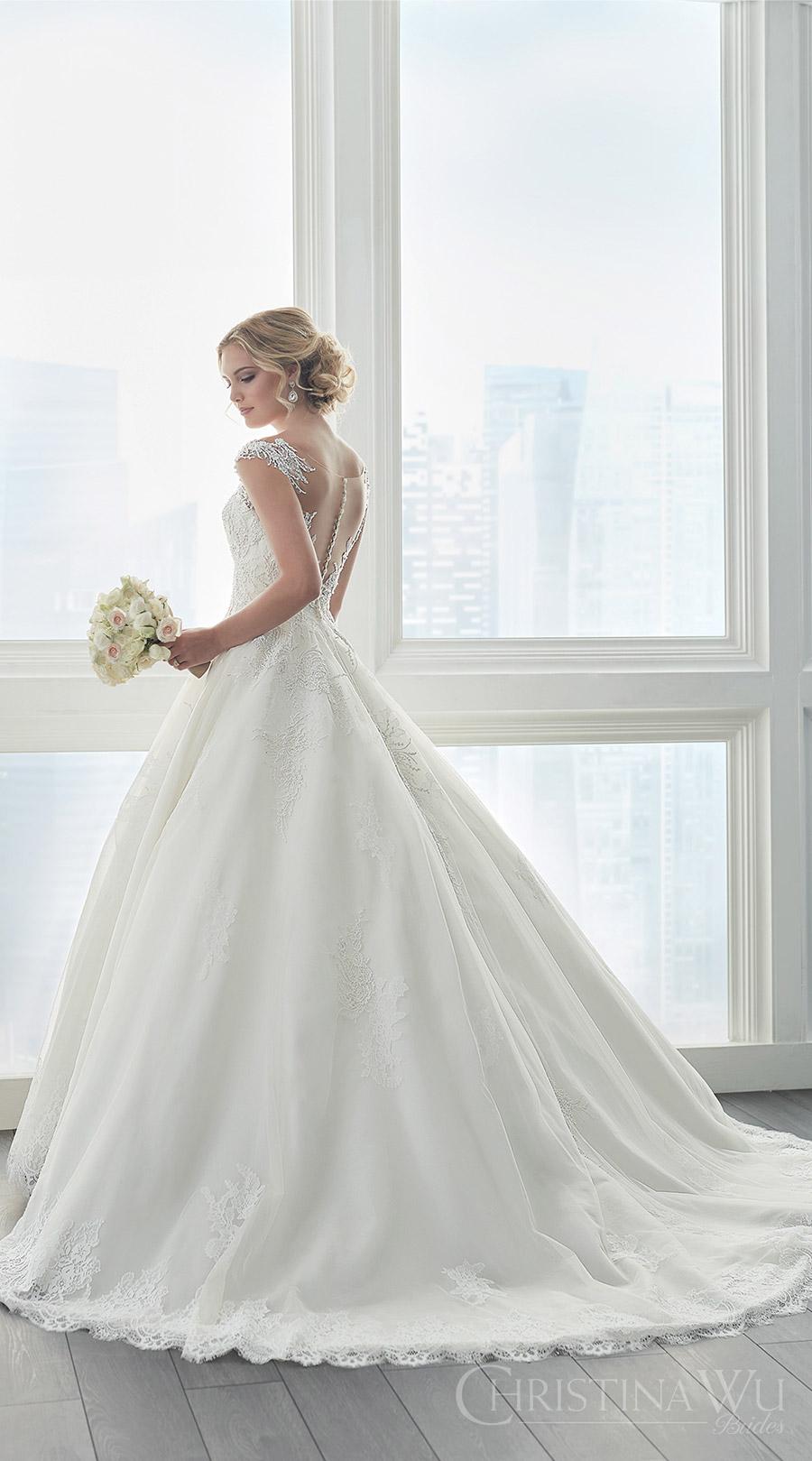 christina wu brides spring 2017 bridal sleeveless illusion cap sleeves deep sweetheart a line beadd lace ball gown wedding dress (15626) bv princess romantic