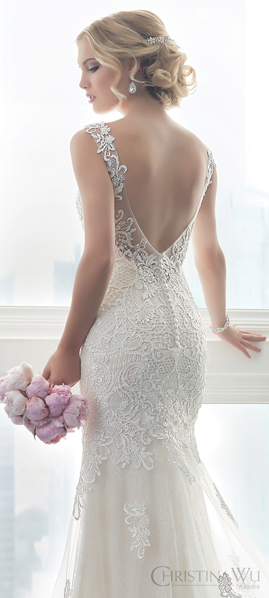 christina wu brides spring 2017 bridal sleeveless illusion straps vneck fully lace embellished trumpet wedding dress (15625) zbv train romantic elegant