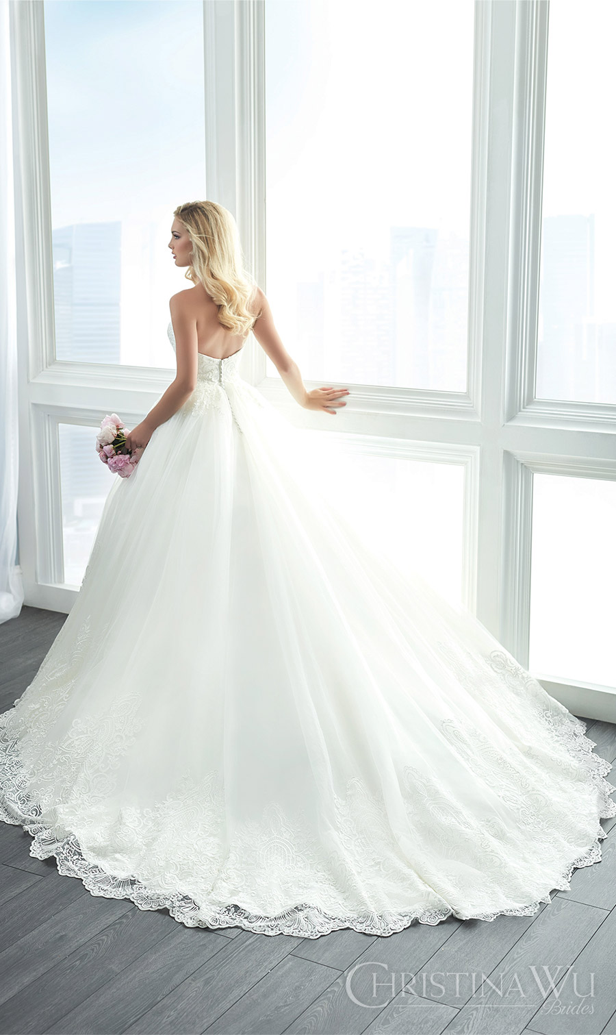 christina wu brides spring 2017 bridal strapless sweetheart lace embellished ball gown wedding dress (15621) bv romantic princess train