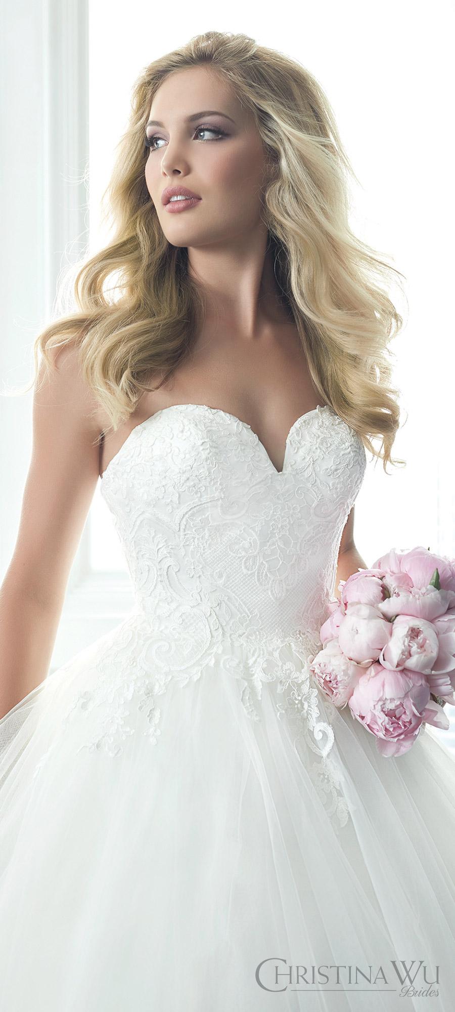 christina wu brides spring 2017 bridal strapless sweetheart lace embellished ball gown wedding dress (15621) mv romantic princess
