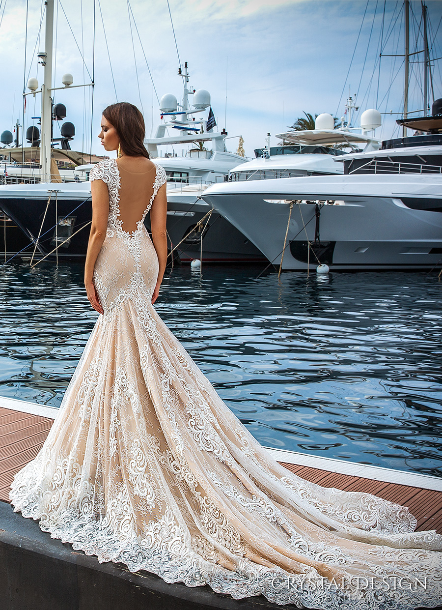 crystal design 2017 bridal cap sleeves deep plunging v neck full embellishment ivory color sexy elegant fit and flare mermaid wedding dress low back royal long train (marchesa) bv