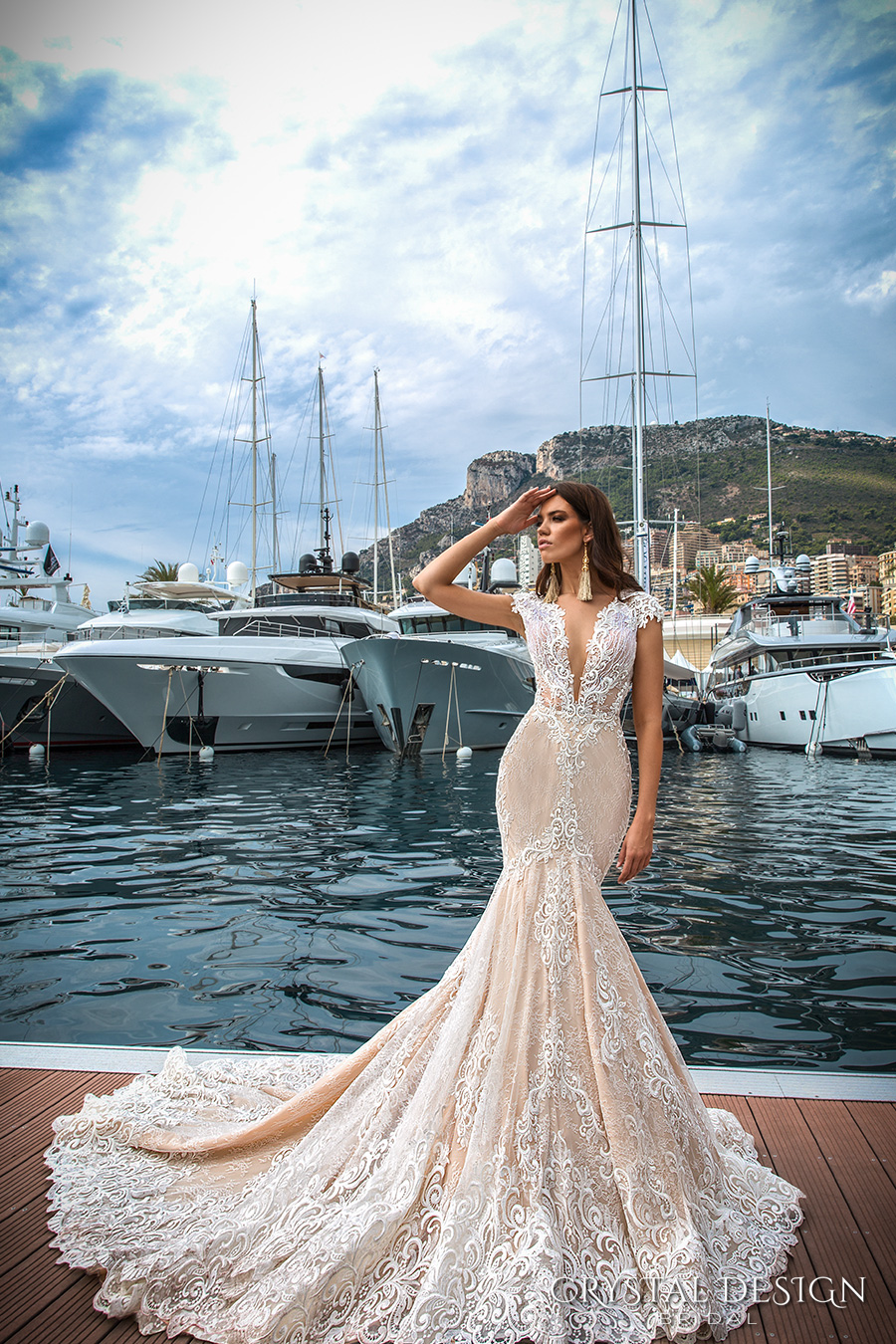 crystal design 2017 bridal cap sleeves deep plunging v neck full embellishment ivory color sexy elegant fit and flare mermaid wedding dress low back royal long train (marchesa) mv