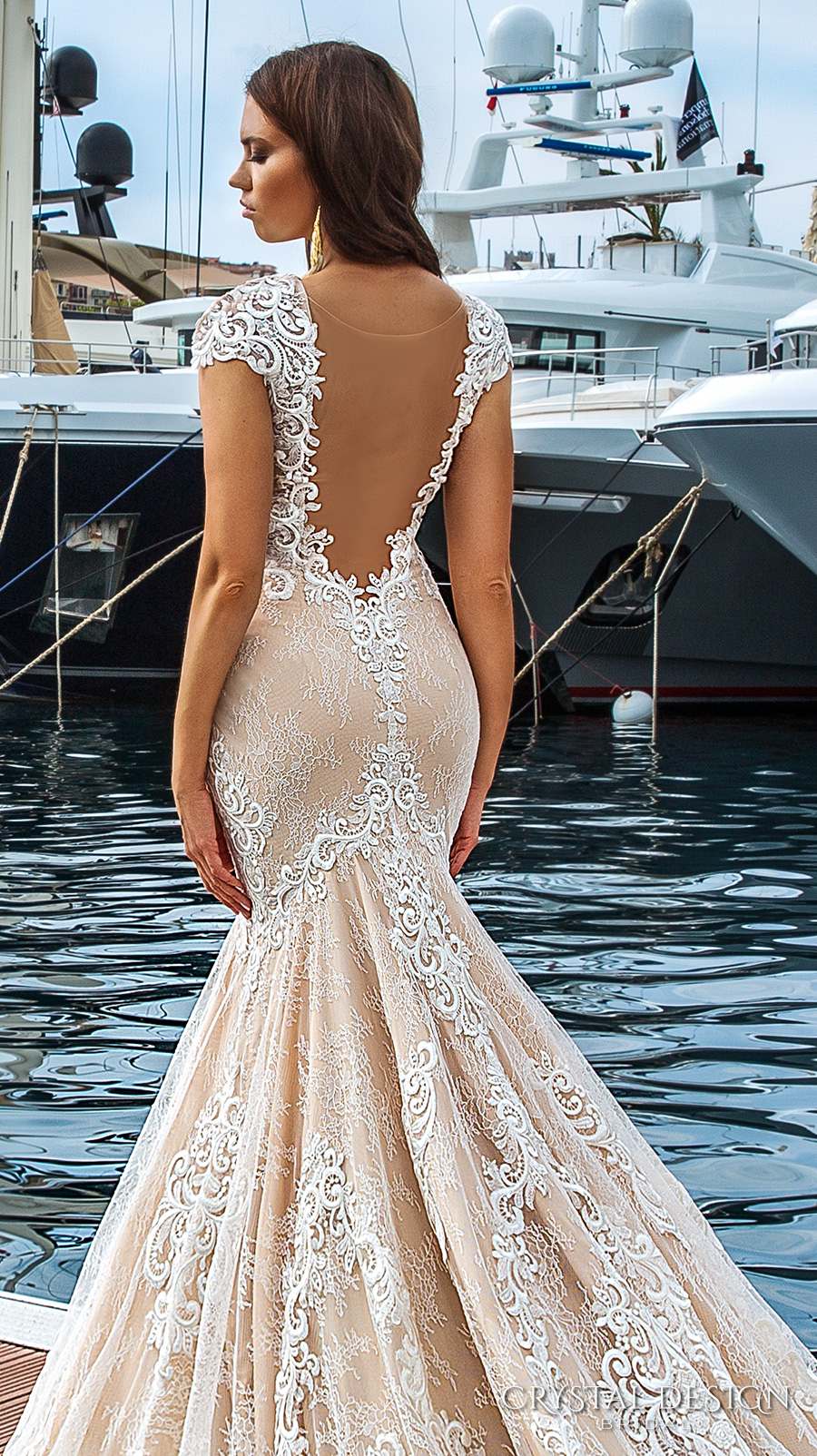 crystal design 2017 bridal cap sleeves deep plunging v neck full embellishment ivory color sexy elegant fit and flare mermaid wedding dress low back royal long train (marchesa) zbv