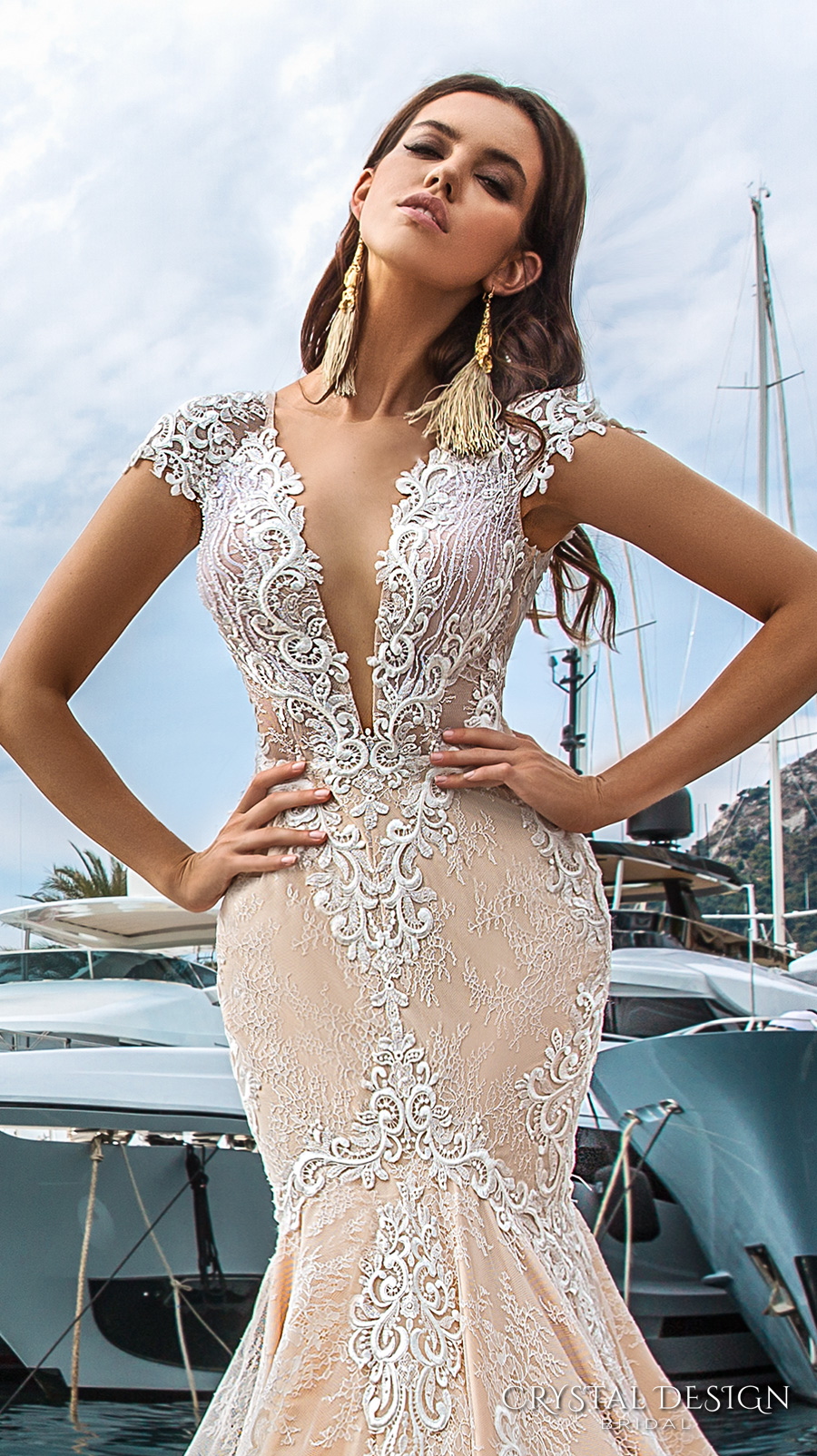 crystal design 2017 bridal cap sleeves deep plunging v neck full embellishment ivory color sexy elegant fit and flare mermaid wedding dress low back royal long train (marchesa) zv