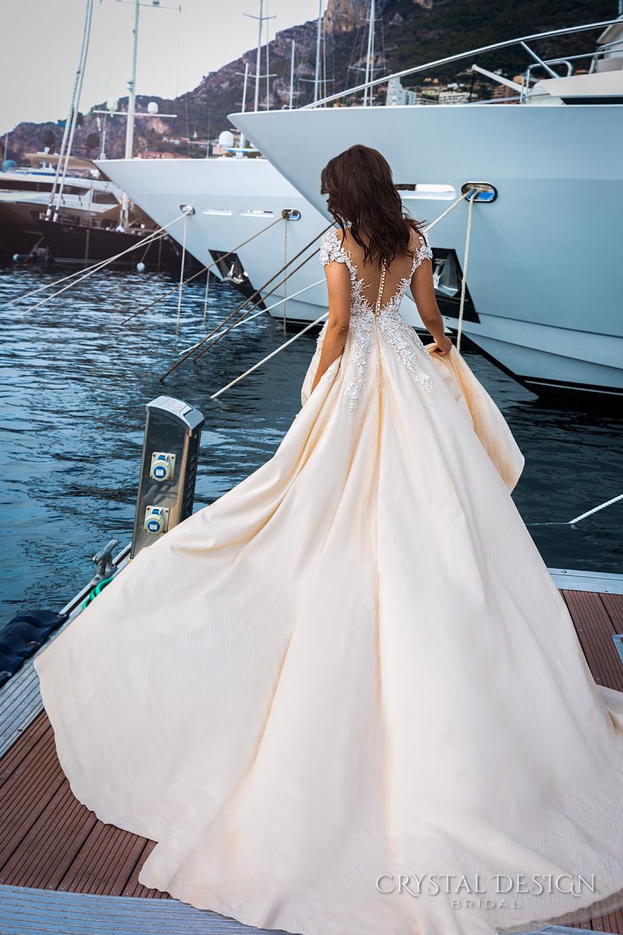 crystal design 2017 bridal cap sleeves v neck heavily embellished bodice lace embroidered romantic princess ivory creame color a  line wedding dress v back long train (atico) bv