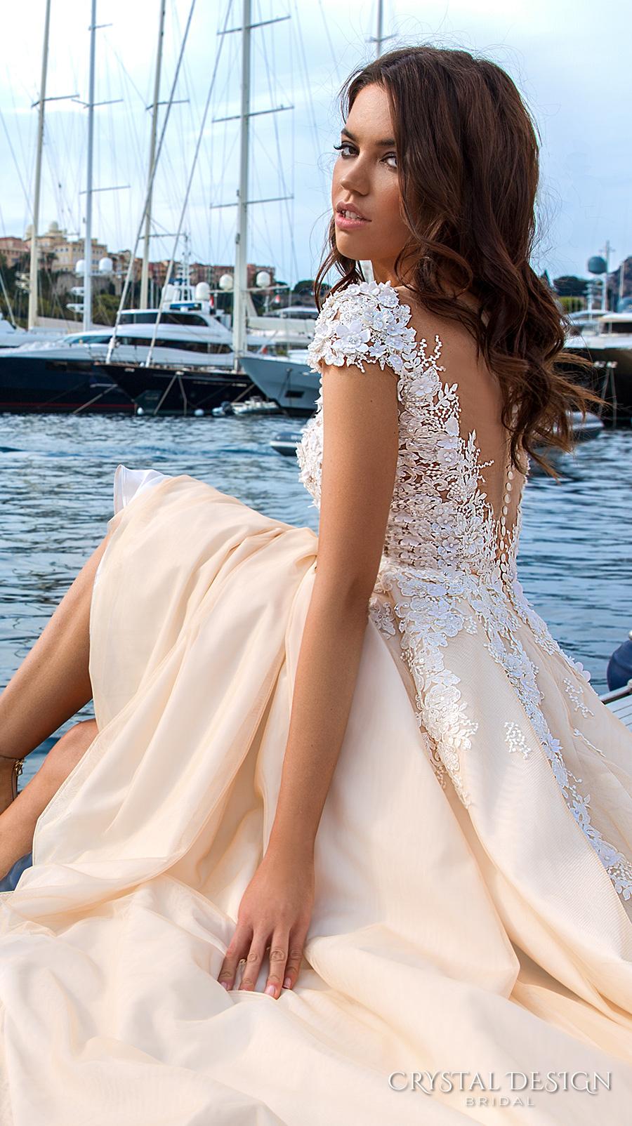 crystal design 2017 bridal cap sleeves v neck heavily embellished bodice lace embroidered romantic princess ivory creame color a  line wedding dress v back long train (atico) zbv