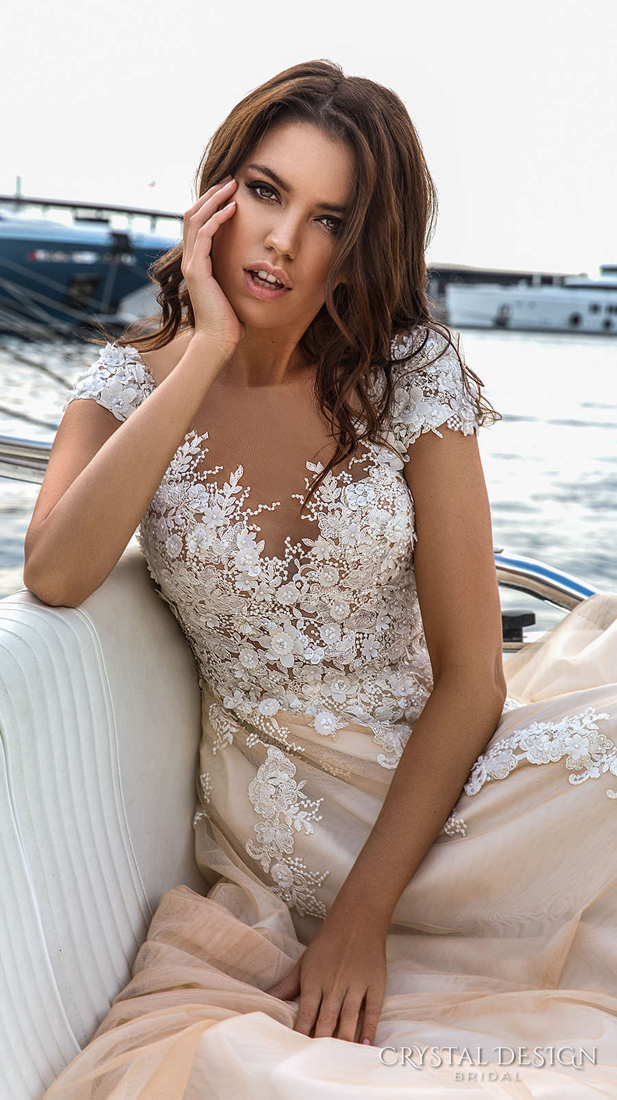 crystal design 2017 bridal cap sleeves v neck heavily embellished bodice lace embroidered romantic princess ivory creame color a  line wedding dress v back long train (atico) zv