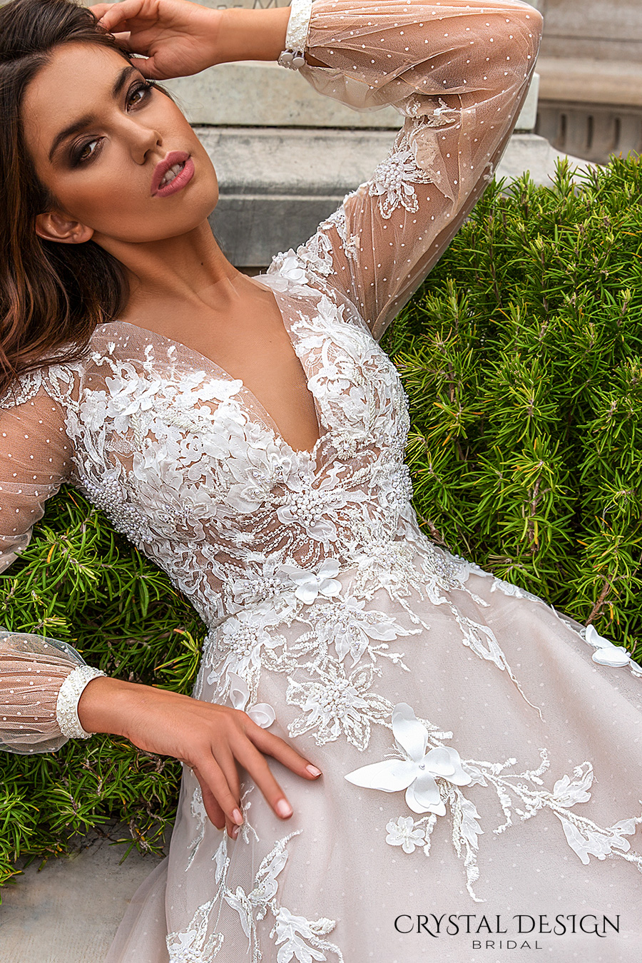 crystal design 2017 bridal long sleeves cuff bishop deep v neck heavily embellished bodice romantic a  line wedding dress sheer back chapel train (alison) zv