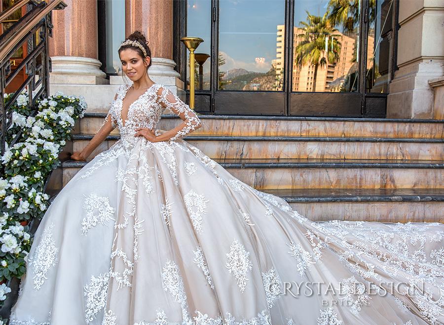 crystal design 2017 bridal long sleeves deep plunging v neck full embellishment bodice princess sexy ball gown a  line wedding dress keyhole back monarch train (chantale) sdv