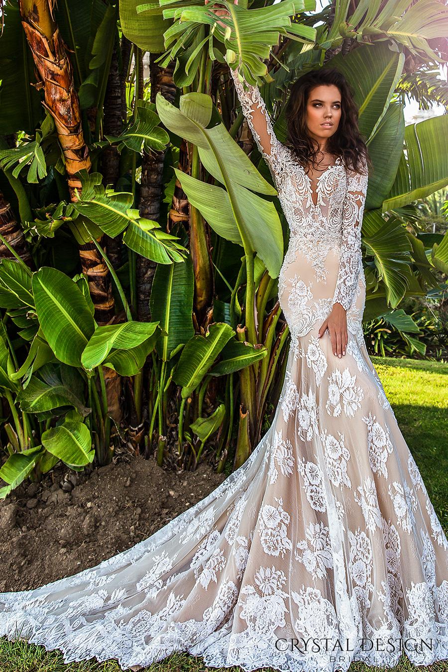 crystal design 2017 bridal long sleeves deep sweetheart neckline full embellished bodice ivory color elegant glamorous fit and flare mermaid wedding dress keyhole back chapel train (rian) mv