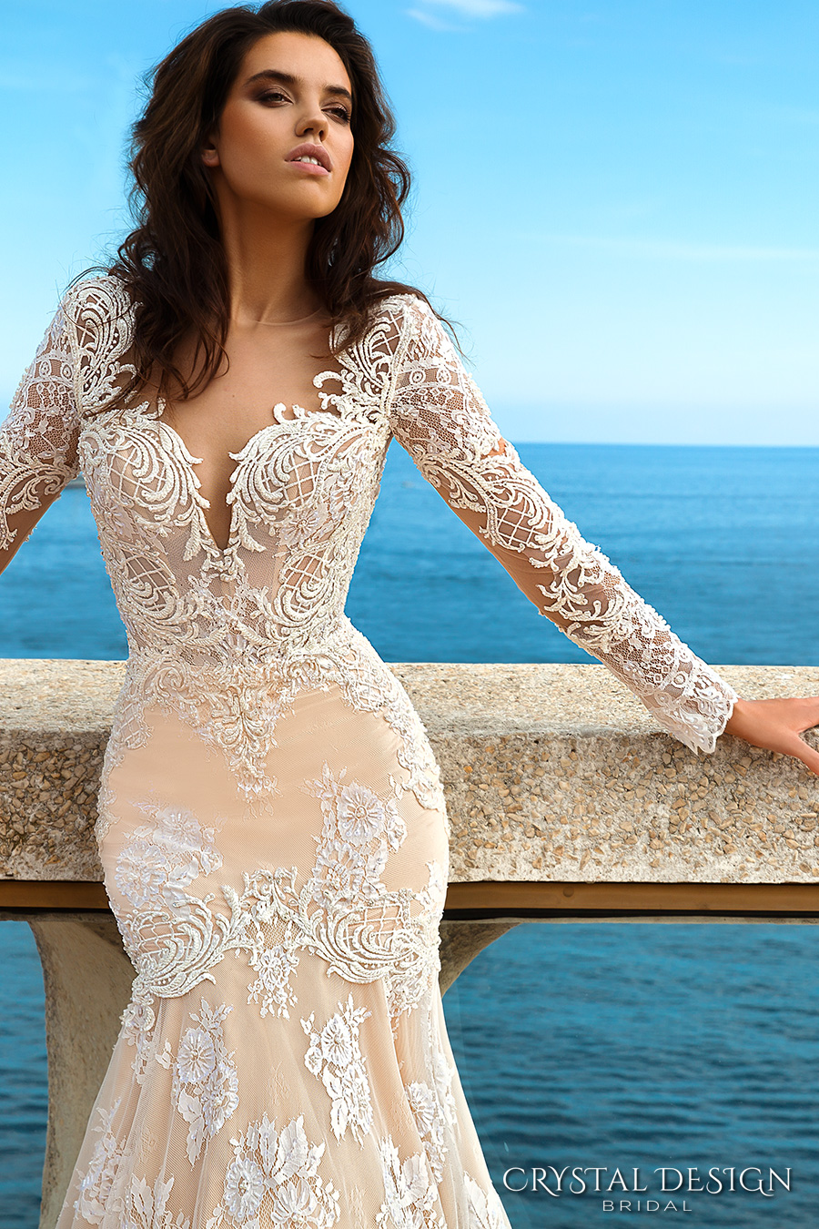 crystal design 2017 bridal long sleeves deep sweetheart neckline full embellished bodice ivory color elegant glamorous fit and flare mermaid wedding dress keyhole back chapel train (rian) zv