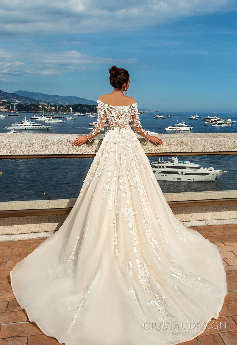 crystal design 2017 bridal long sleeves off the shoulder heavily embellished bodice romantic elegant ivory color a  line wedding dress lace back long train (brianne) bv