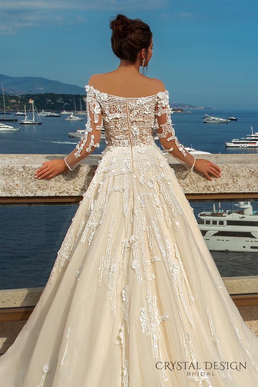 crystal design 2017 bridal long sleeves off the shoulder heavily embellished bodice romantic elegant ivory color a  line wedding dress lace back long train (brianne) zbv