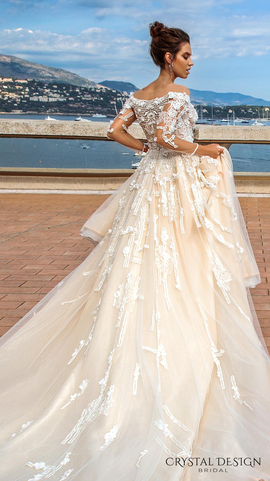 crystal design 2017 bridal long sleeves off the shoulder heavily embellished bodice romantic elegant ivory color a  line wedding dress lace back long train (brianne) zsdv