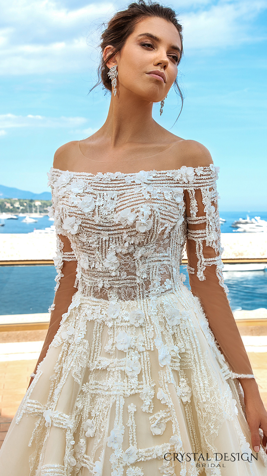 crystal design 2017 bridal long sleeves off the shoulder heavily embellished bodice romantic elegant ivory color a  line wedding dress lace back long train (brianne) zv