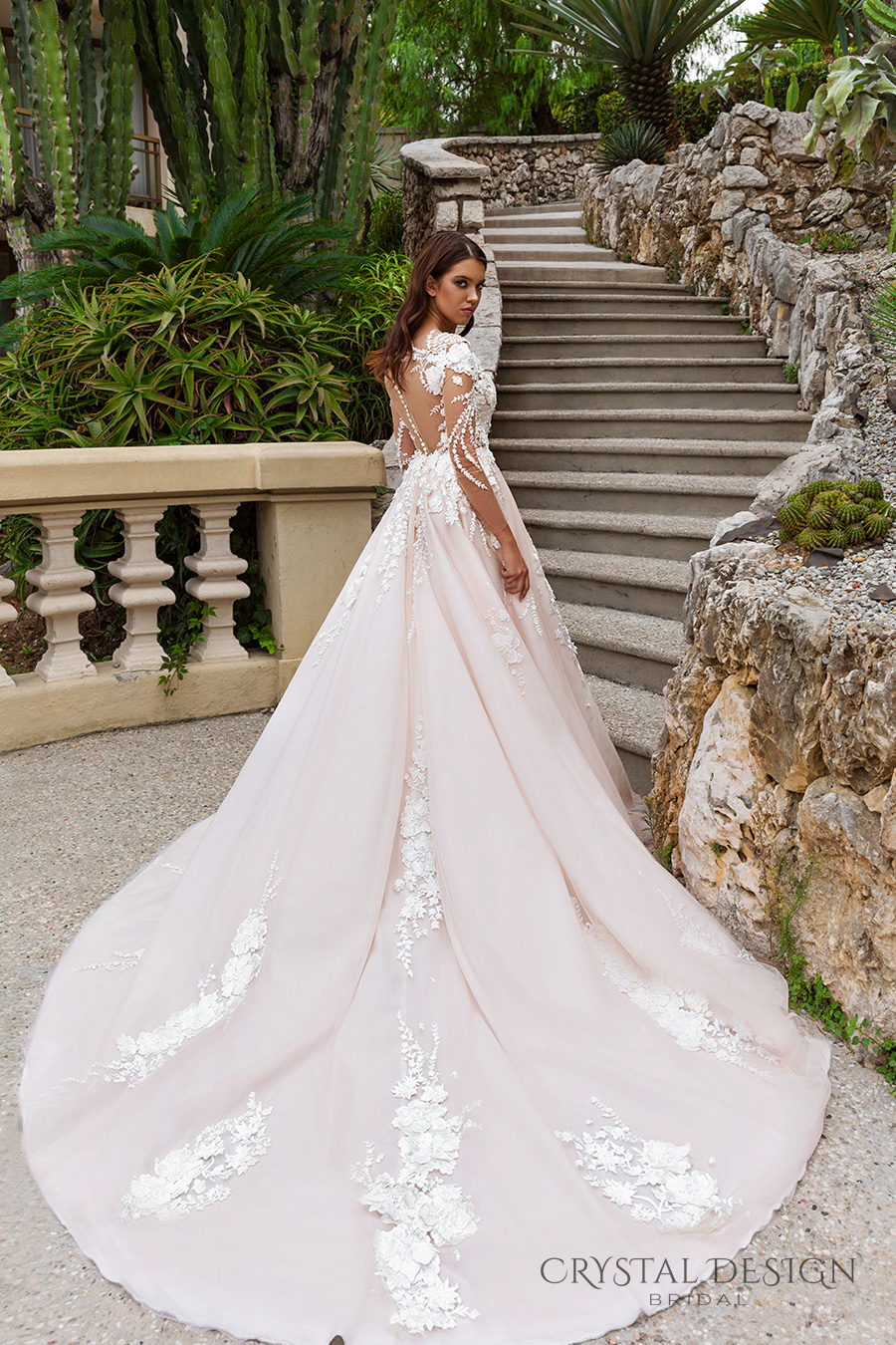 crystal design 2017 bridal long sleeves v neck heavily embellished lace embroidered romantic princess blush color a  line wedding dress sheer back long monarch train (aniya) bv
