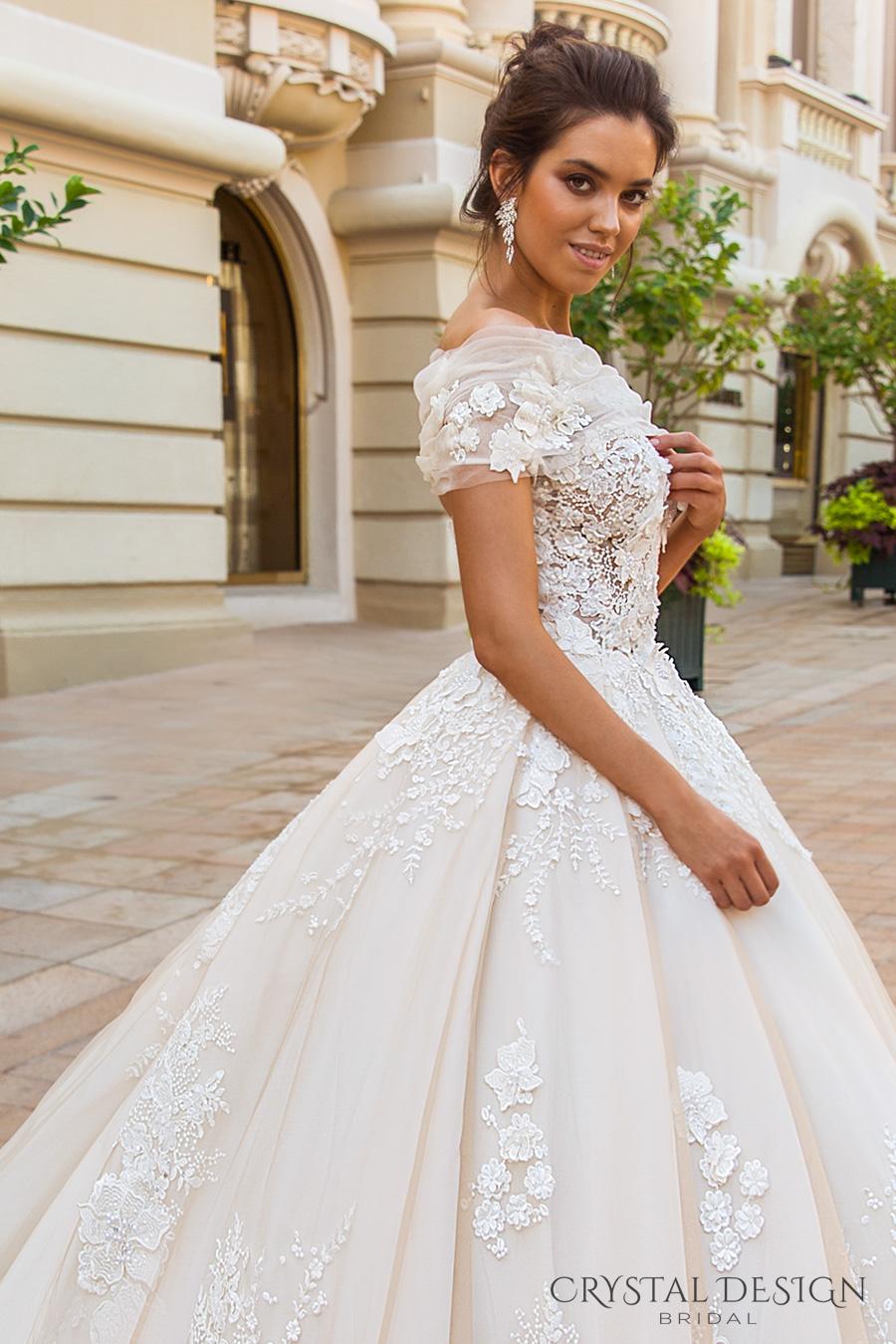 crystal design 2017 bridal off the shoulder wrap sweetheart neckline heavily embellished bodice princess romantic ball gown a  line wedding dress royal train (emilia) zsdv
