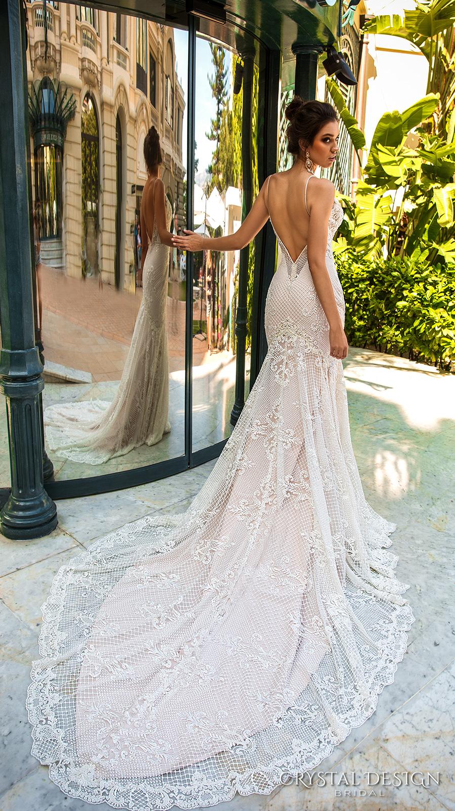 crystal design 2017 bridal sleeveless spagetti strap deep plunging v neck full embellishment elegant sexy fit and flare wedding dress low back chapel train (11 fler) bv