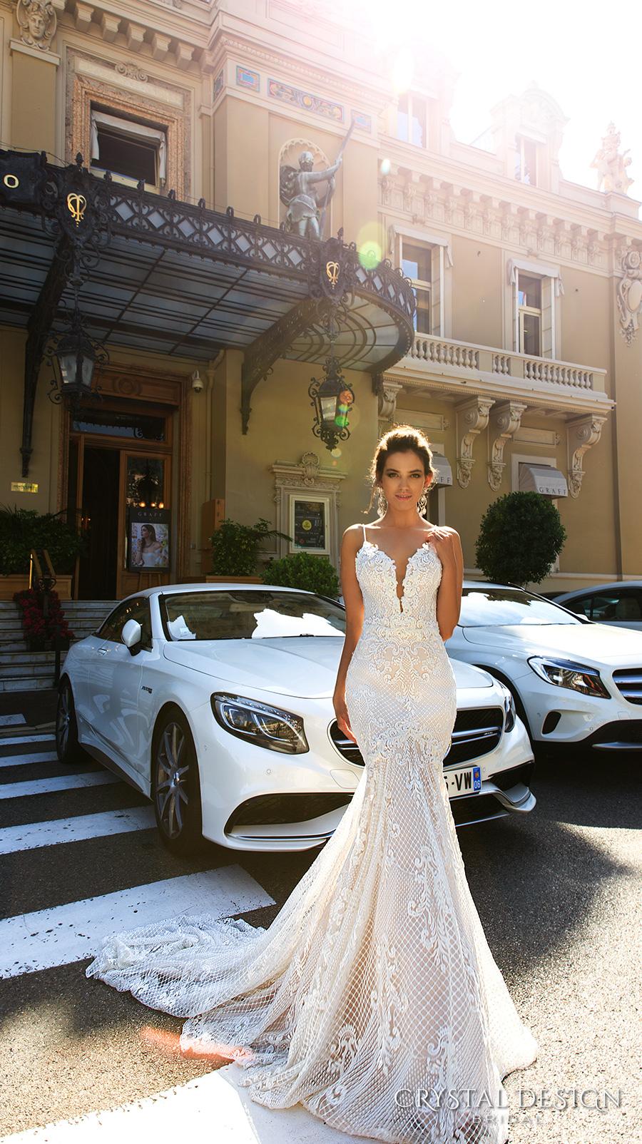 crystal design 2017 bridal sleeveless spagetti strap deep plunging v neck full embellishment elegant sexy fit and flare wedding dress low back chapel train (11 fler) mv