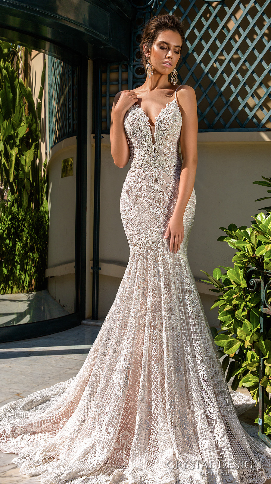 crystal design 2017 bridal sleeveless spagetti strap deep plunging v neck full embellishment elegant sexy fit and flare wedding dress low back chapel train (11 fler) mv