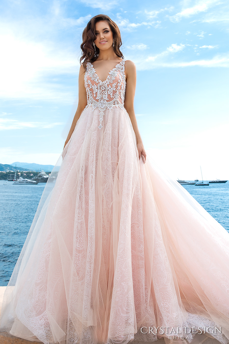 crystal design 2017 bridal sleeveless v neck heavily embellished bodice tulle skirt princess romantic blush color a  line wedding dress low back long royal train (andrea) mv