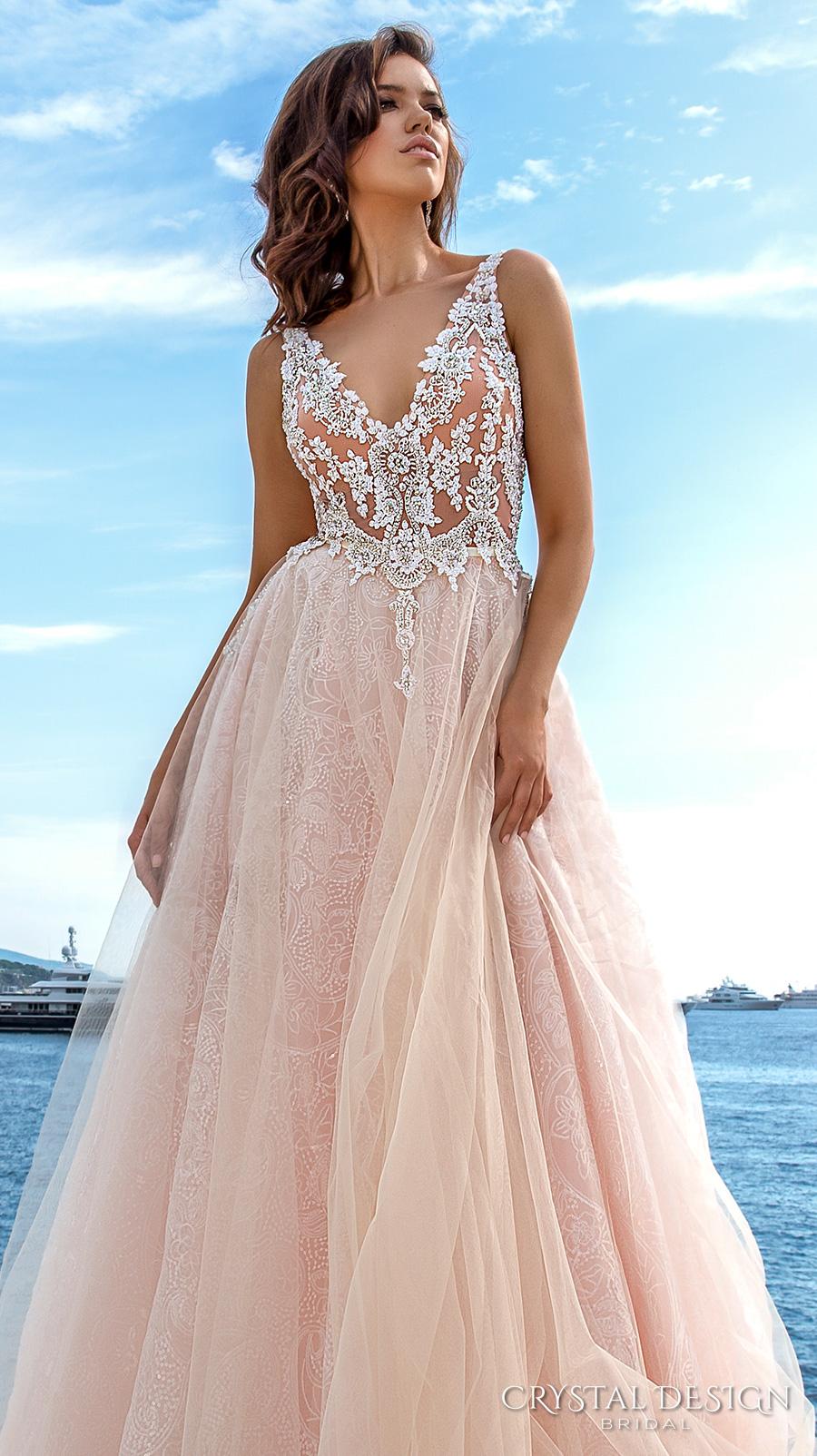 crystal design 2017 bridal sleeveless v neck heavily embellished bodice tulle skirt princess romantic blush color a  line wedding dress low back long royal train (andrea) zv