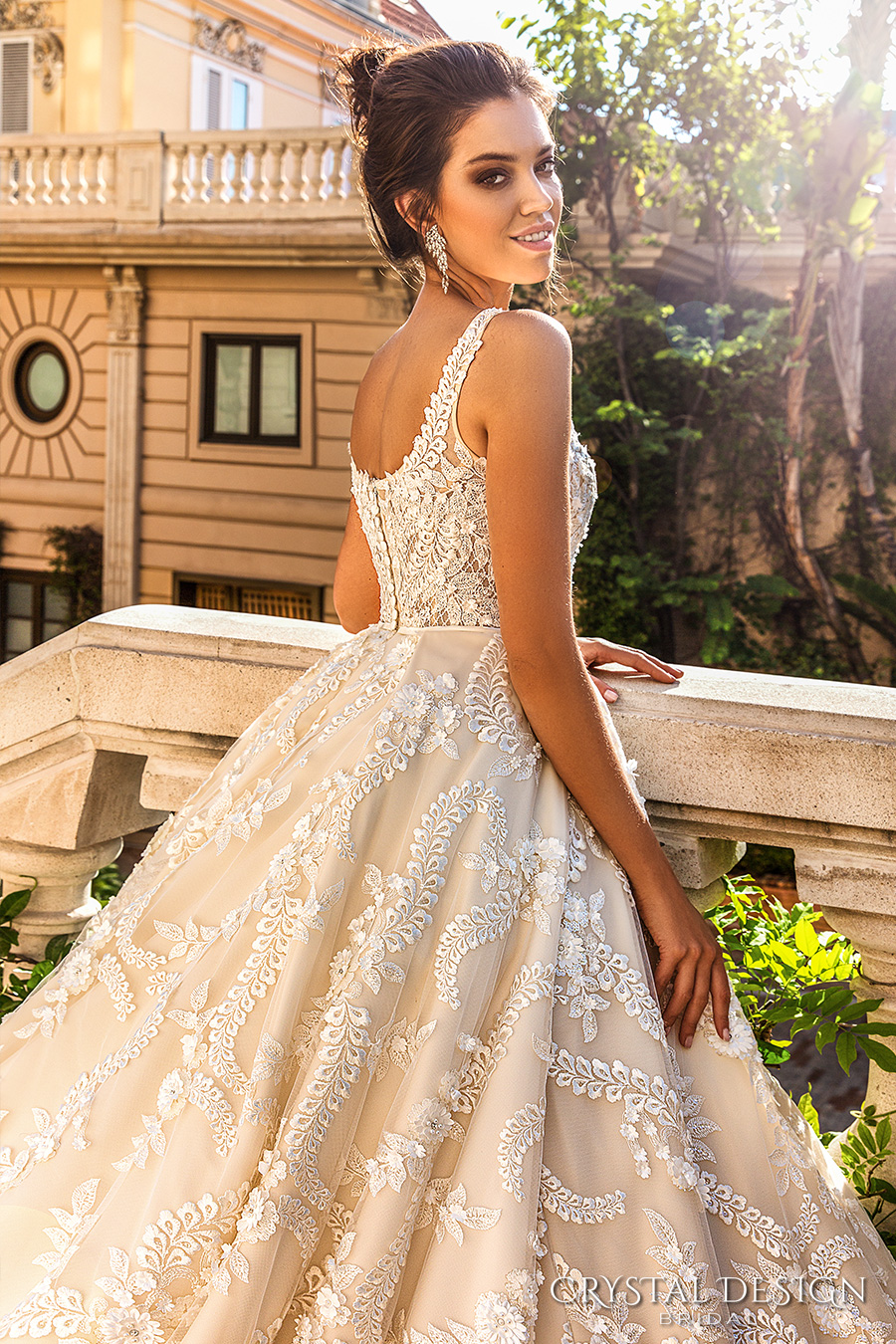 crystal design 2017 bridal sleeveless with strap scoop neckline full embellishment romantic princess ivory color ball gown a  line wedding dress royal train (etolie) zbv