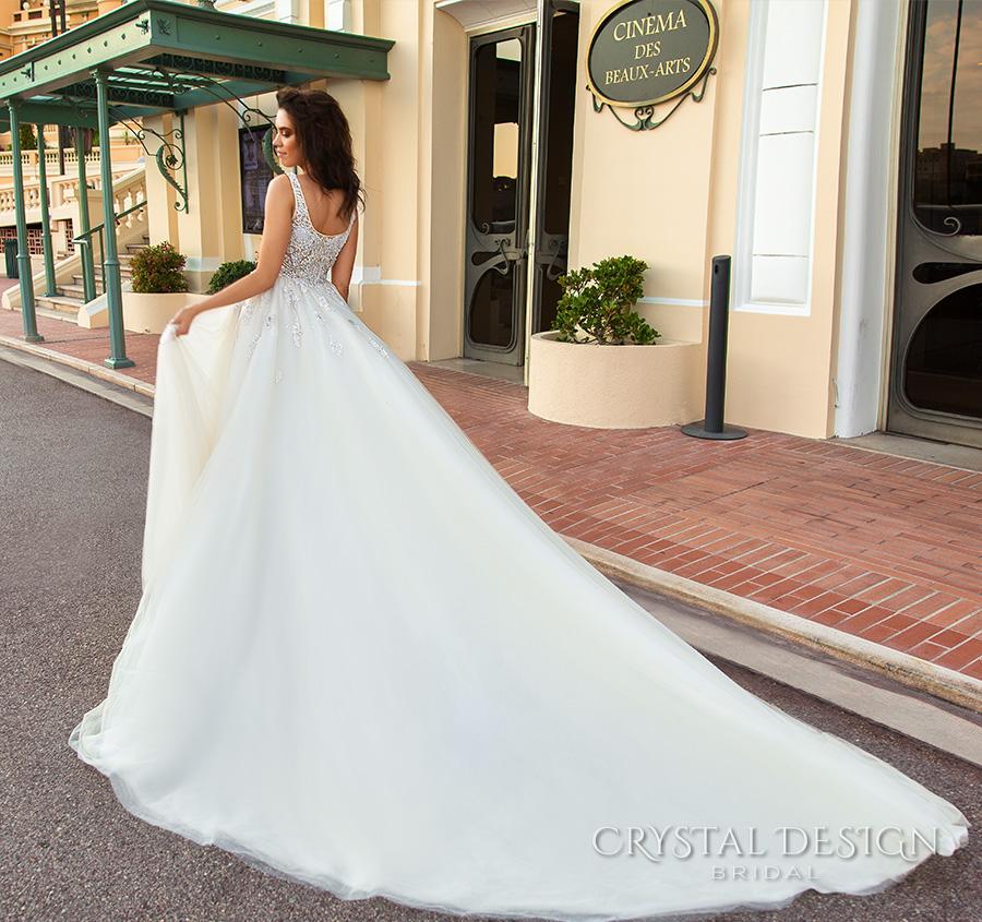 crystal design 2017 bridal sleeveless with strap scoop necklne heavily embellished bodice romantic a  line wedding dress scoop back royal long train (carven) bv