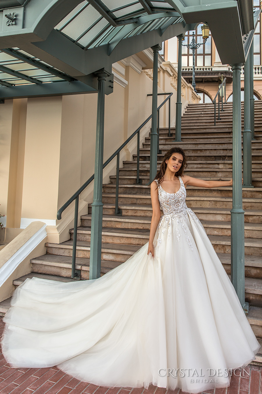 crystal design 2017 bridal sleeveless with strap scoop necklne heavily embellished bodice romantic a  line wedding dress scoop back royal long train (carven) mv