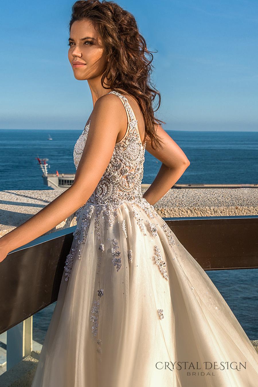 crystal design 2017 bridal sleeveless with strap scoop necklne heavily embellished bodice romantic a  line wedding dress scoop back royal long train (carven) zsdv