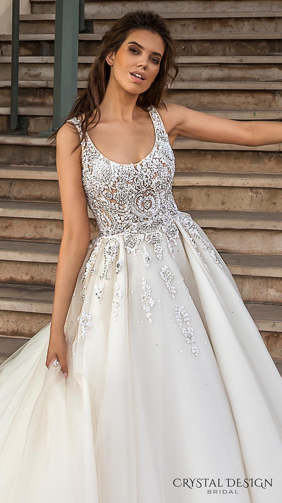 crystal design 2017 bridal sleeveless with strap scoop necklne heavily embellished bodice romantic a  line wedding dress scoop back royal long train (carven) zv