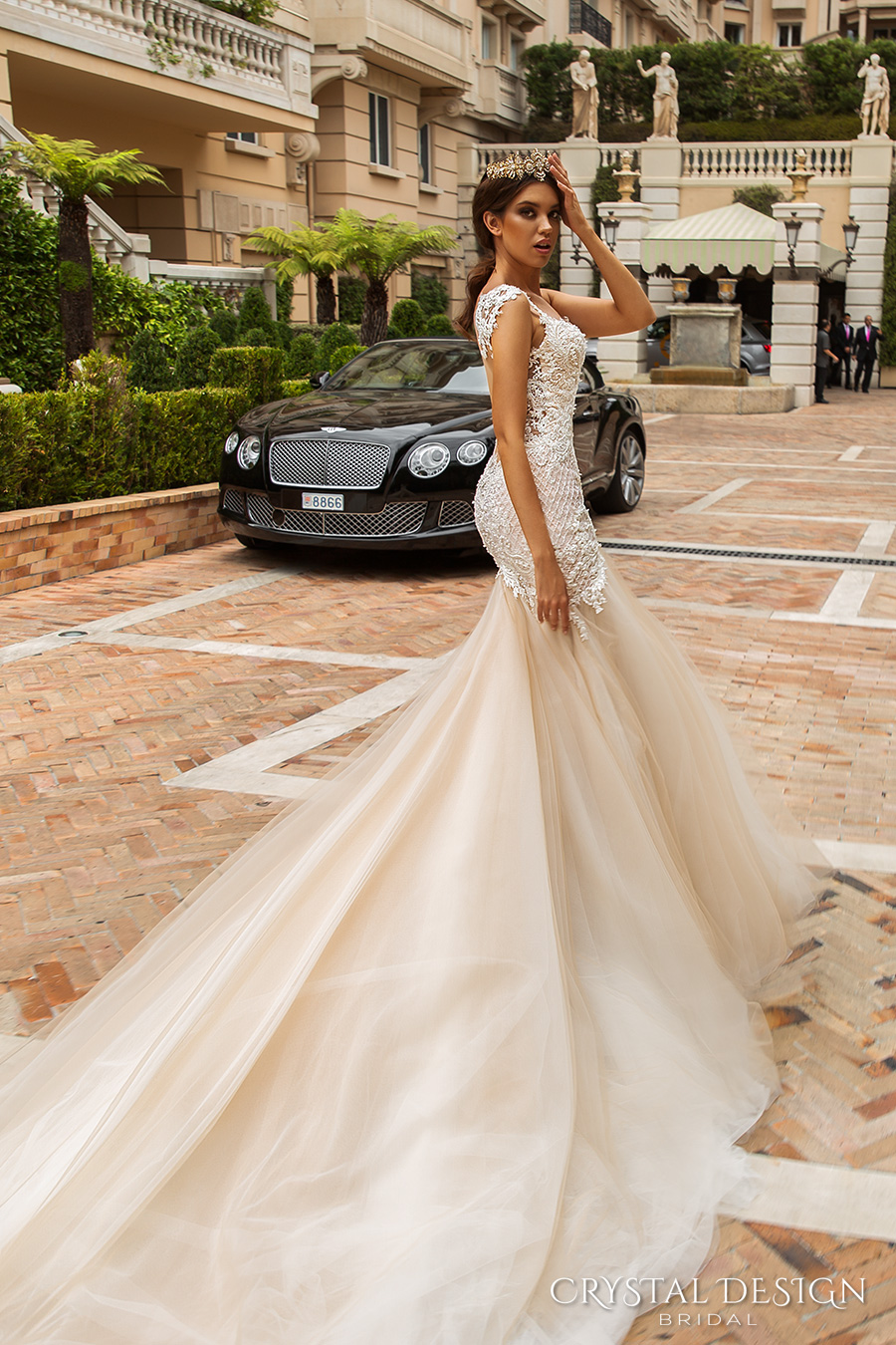 crystal design 2017 bridal sleeveless with strap sweetheart neckline heavily embellished bodice tulle fit and flare mermaid wedding dress low back royal train (solange) sdv