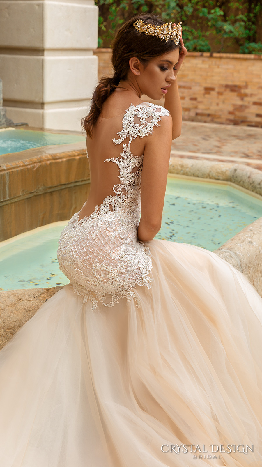 crystal design 2017 bridal sleeveless with strap sweetheart neckline heavily embellished bodice tulle fit and flare mermaid wedding dress low back royal train (solange) zbv