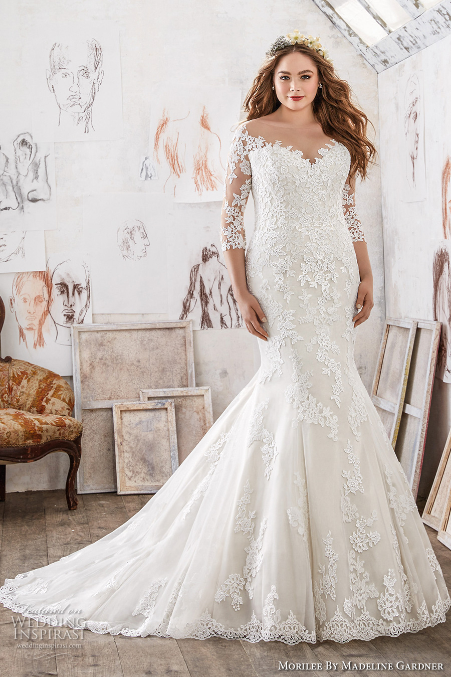 Morilee by madeline gardner spring 2017 wedding dresses for Plus size wedding dresses with color and sleeves