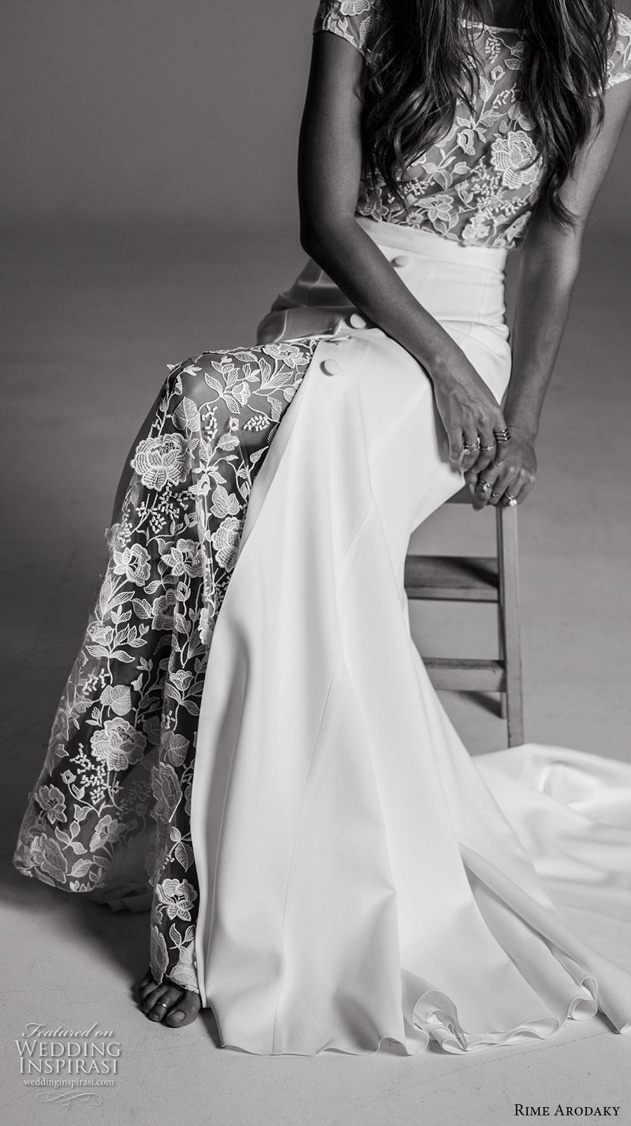 rime arodaky fall 2017 bridal cap sleeves bateau neckline heavily embellished bodice lace top elegant sheath wedding dress low back sweep train (12a) zv