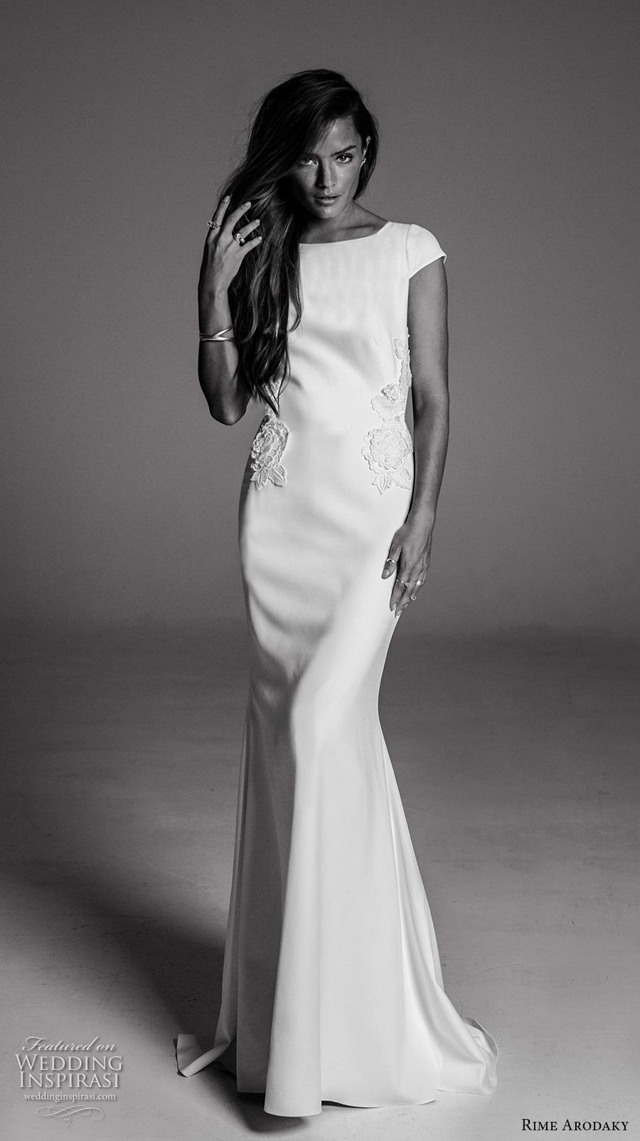 rime arodaky fall 2017 bridal cap sleeves boat neckline simple clean lightly embellished bodice elegant sheath wedding dress keyhole back sweep train (9) mv