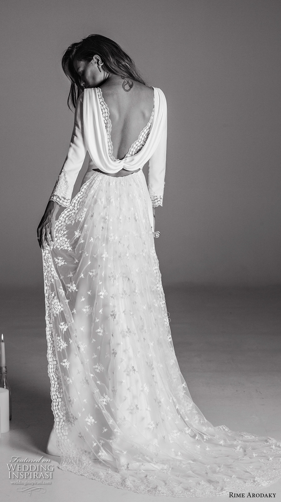 rime arodaky fall 2017 bridal cap sleeves illusion bateau sweetheart neckline full embellishment bohemian elegant sheath wedding dress cowl back low back sweep train (6) bv