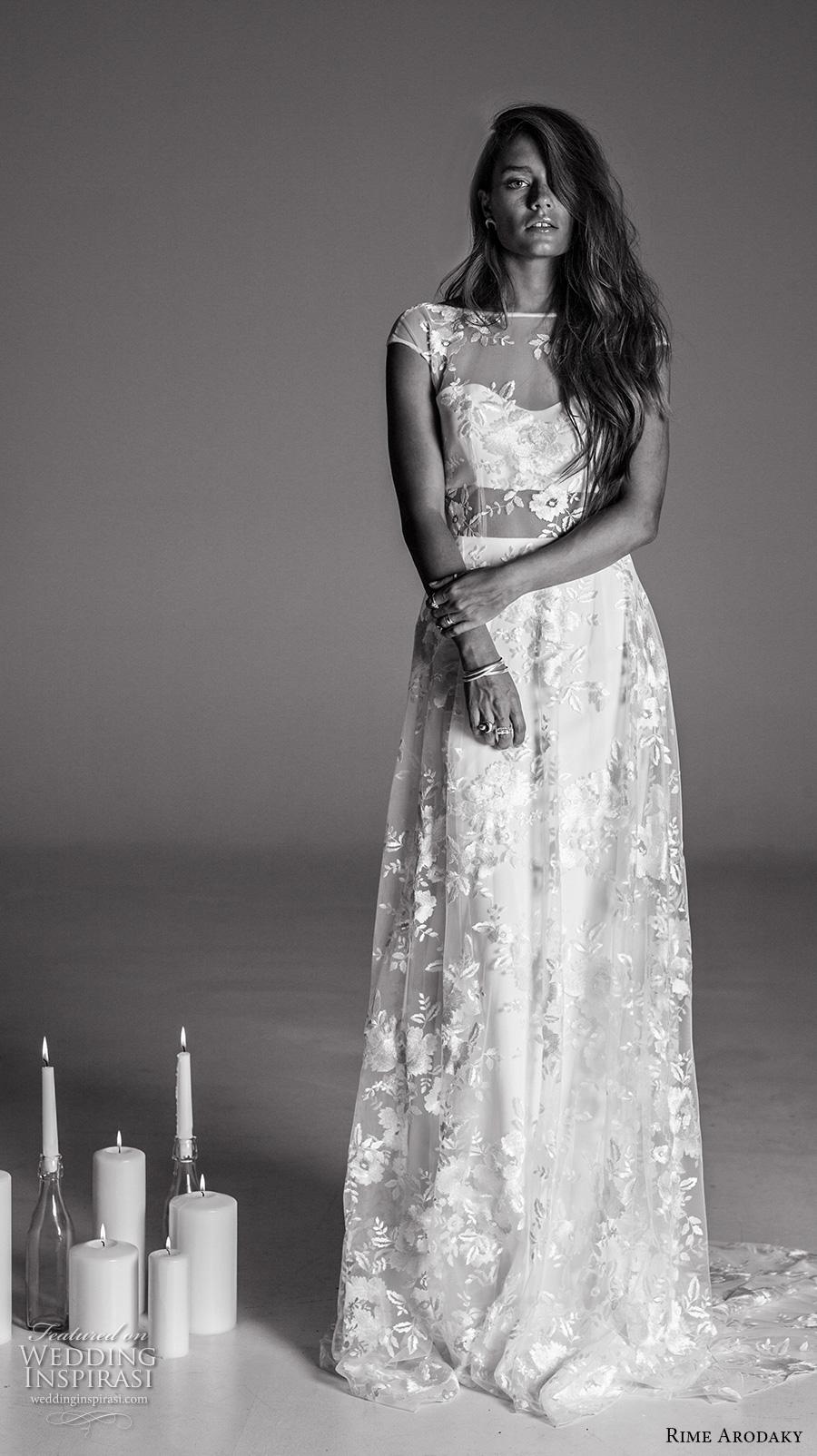 rime arodaky fall 2017 bridal cap sleeves illusion bateau sweetheart neckline full embellishment bohemian elegant sheath wedding dress cowl back low back sweep train (6) mv