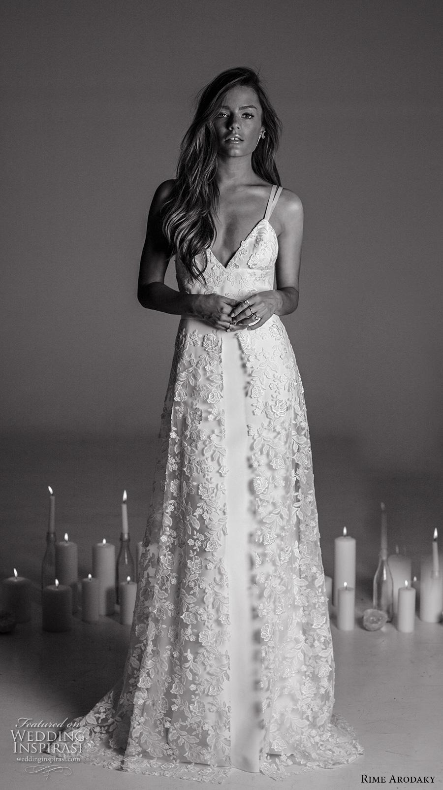 rime arodaky fall 2017 bridal double thin strap deep sweetheart neckline heavily embellished bodice retro sheath wedding dress a  line overskirt sweep train (17) mv