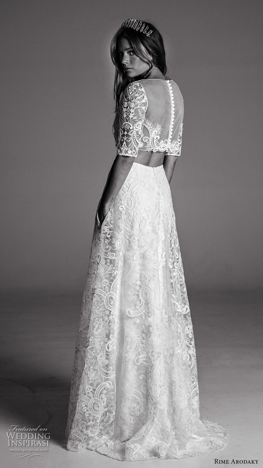 rime arodaky fall 2017 bridal half sleeves bateau neckline full embellishment crop top lace skirt bohemian romantic modified a  line wedding dress sheer back sweep train (10) bv