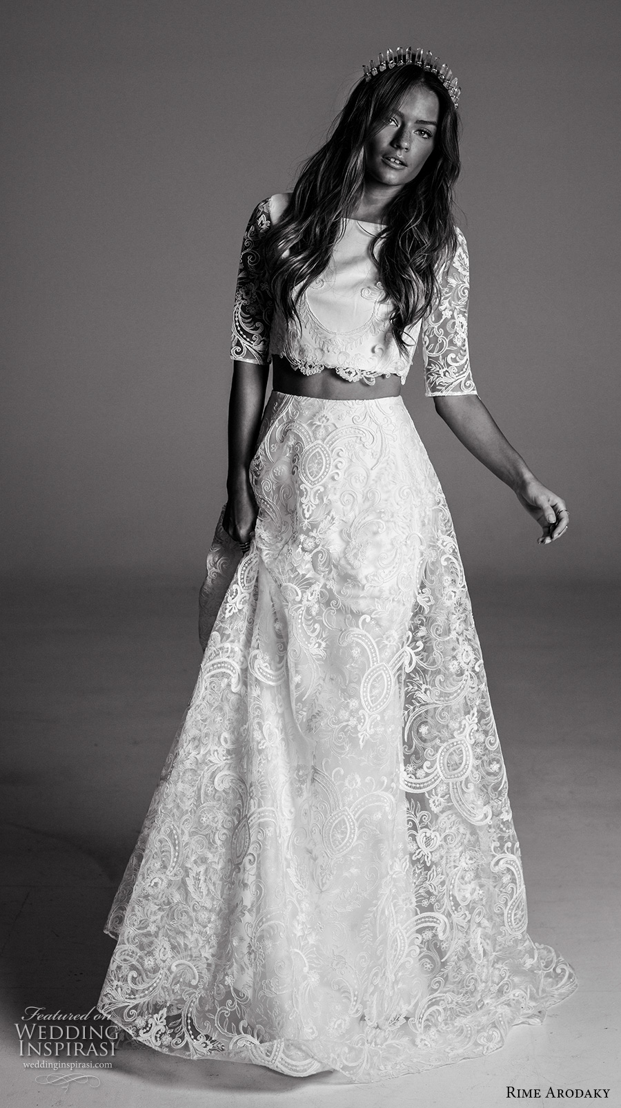Rime Arodaky Fall 2017 Bridal Half Sleeves Bateau Neckline Full Embellishment Crop Top Lace Skirt Bohemian