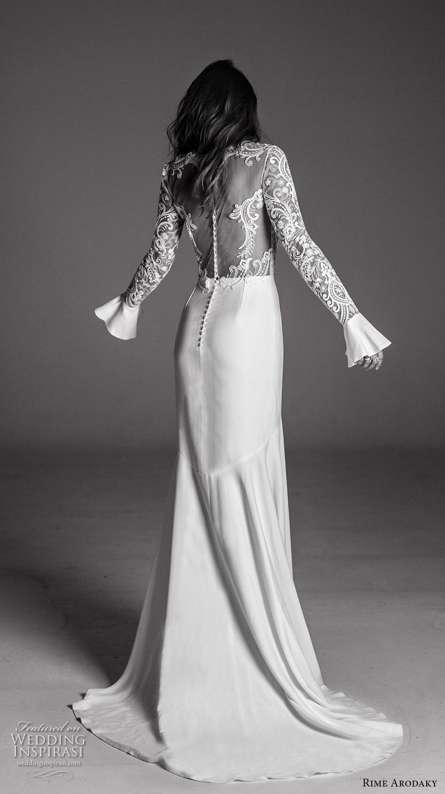 rime arodaky fall 2017 bridal long flounce sleeves jewel neckline heavily embellished bodice sophiscated high low mermaid wedding dress lace back sweep train (8) bv