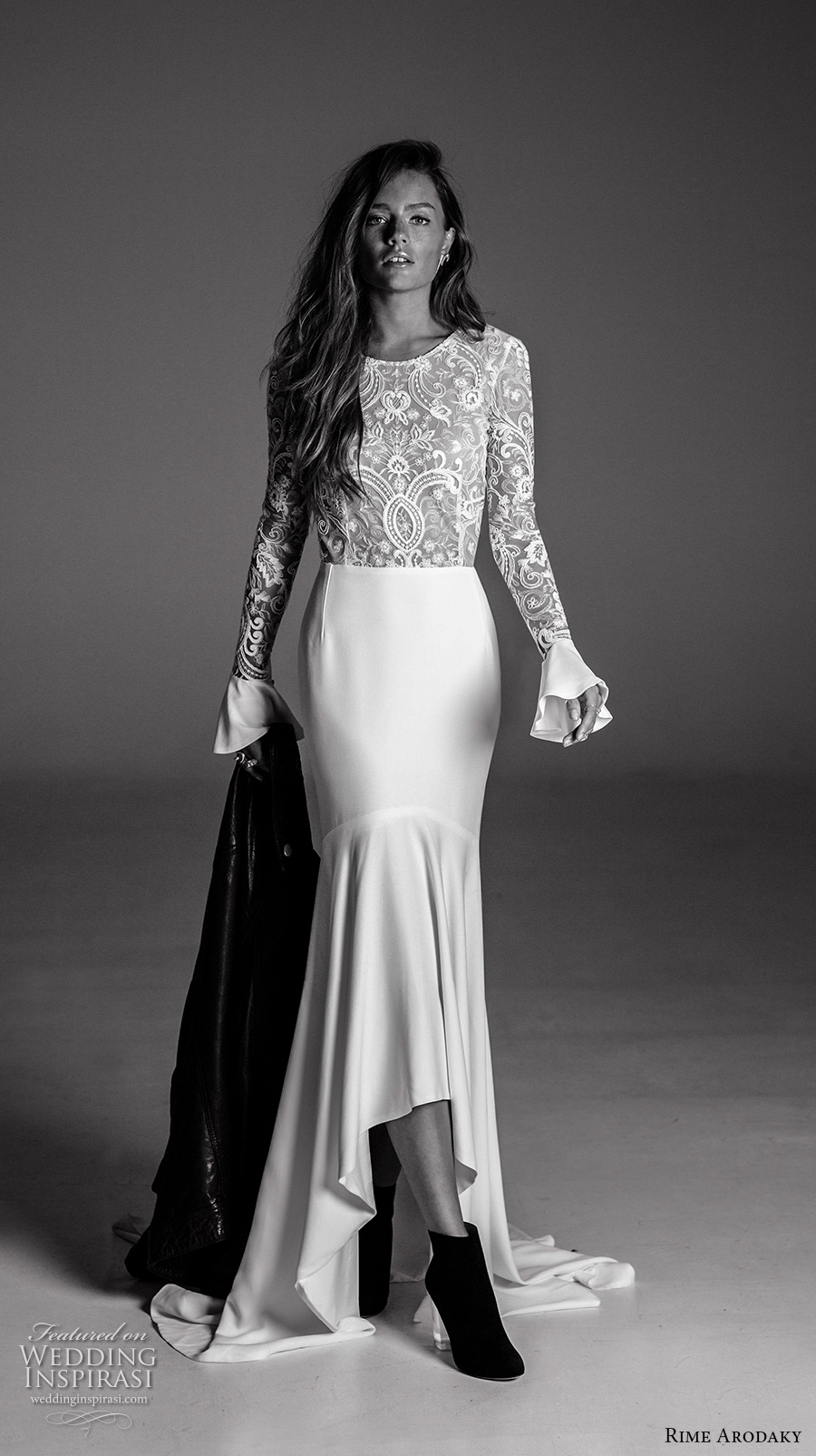 rime arodaky fall 2017 bridal long flounce sleeves jewel neckline heavily embellished bodice sophiscated high low mermaid wedding dress lace back sweep train (8) mv