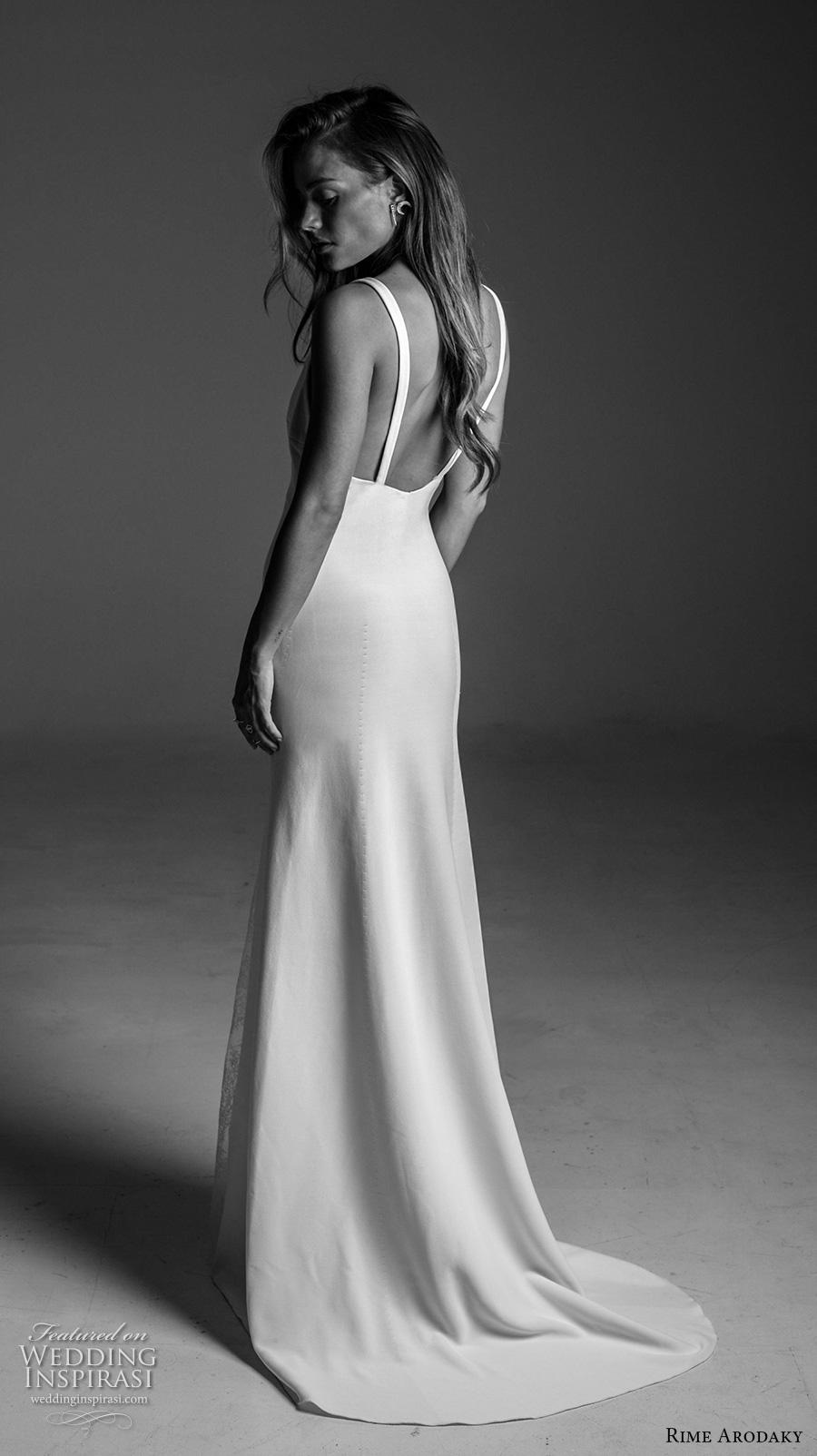 rime arodaky fall 2017 bridal sleeveless strap v neck simple clean elegant classic retro elegant sheath wedding dress sweep train (19) bv