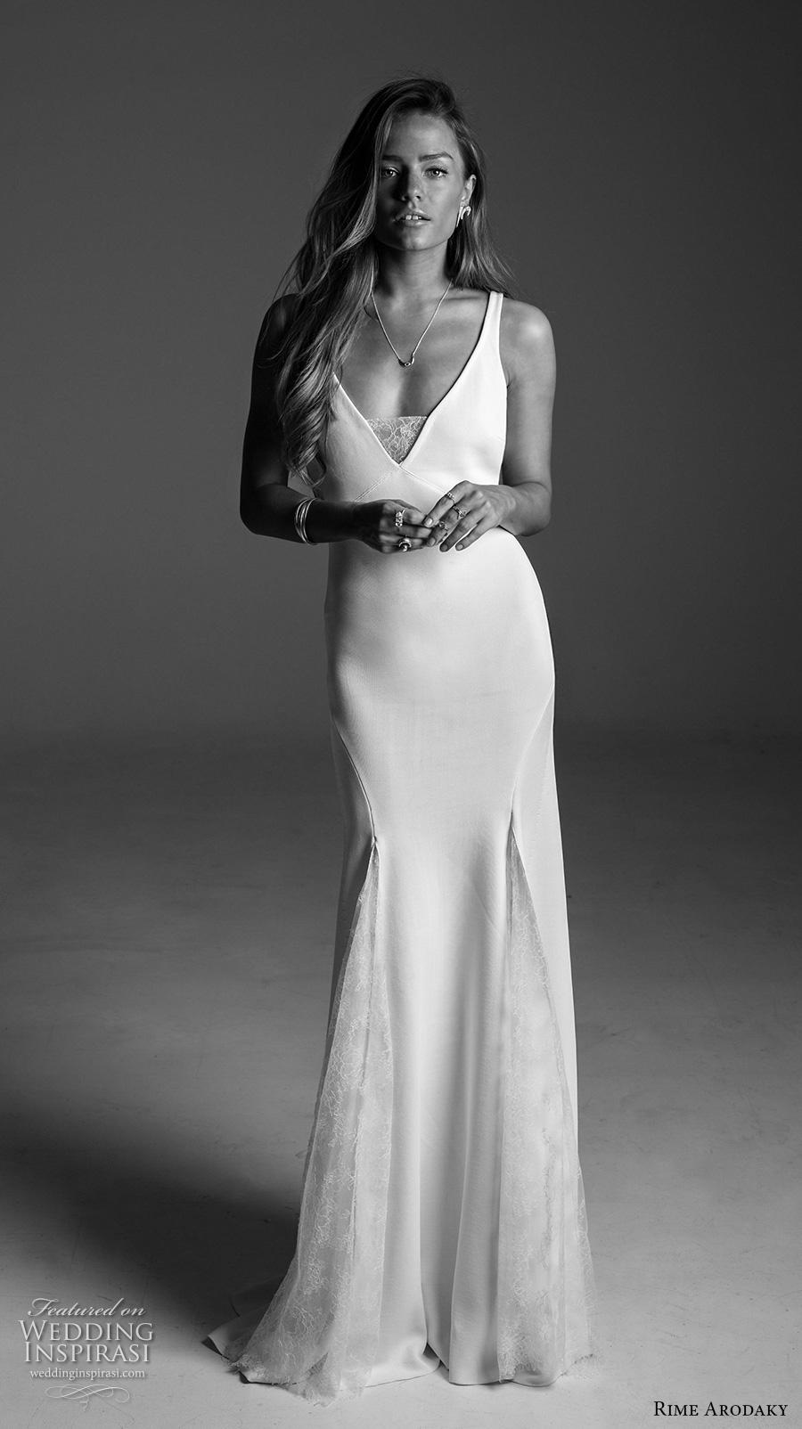 rime arodaky fall 2017 bridal sleeveless strap v neck simple clean elegant classic retro elegant sheath wedding dress sweep train (19) mv