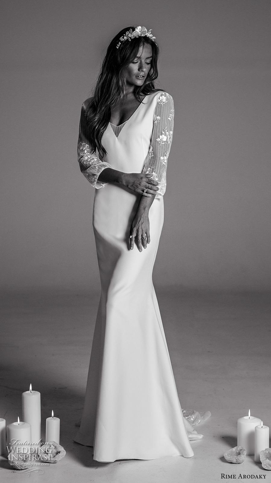 rime arodaky fall 2017 bridal three quarter sleeves v neck clean simple classic retro sheath wedding dress low back v back sweep train (14) mv