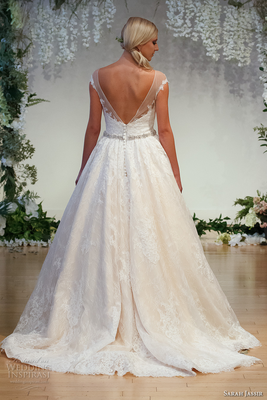 sarah jassir 2017 bridal cap sleeves illusion bateau neck deep sweetheart neck full embellishment romantic classic a  line wedding dress v back sweep train (6) bv